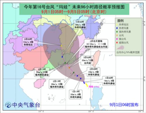 """今年第16号台风""""玛娃""""将于3号在广东沿海登陆"""