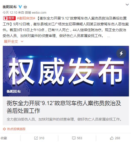 衡东故意驾车伤人案已致11人死 善后工作正有序进行