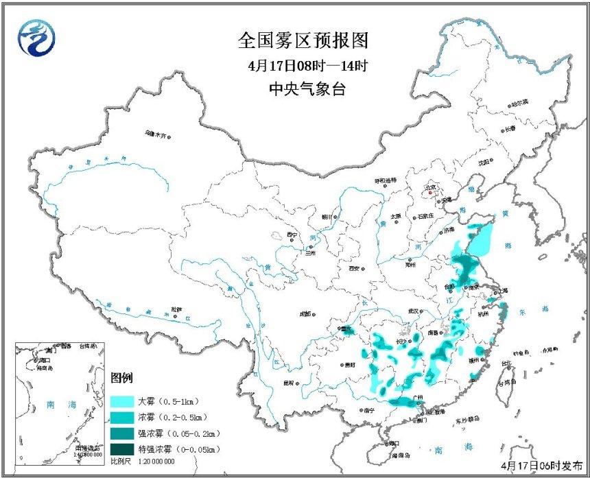 大雾黄色预警:江苏江西等地部分地区有强浓雾