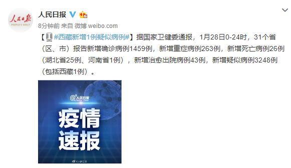 西藏新增新型冠状病毒肺炎1例疑