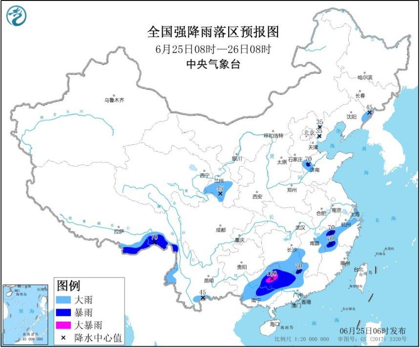 华北地区雷雨频繁广西东北部局地有大暴雨