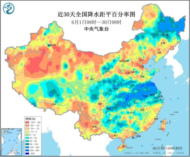中央气象台连发30天暴雨预警南北方雨水范畴广