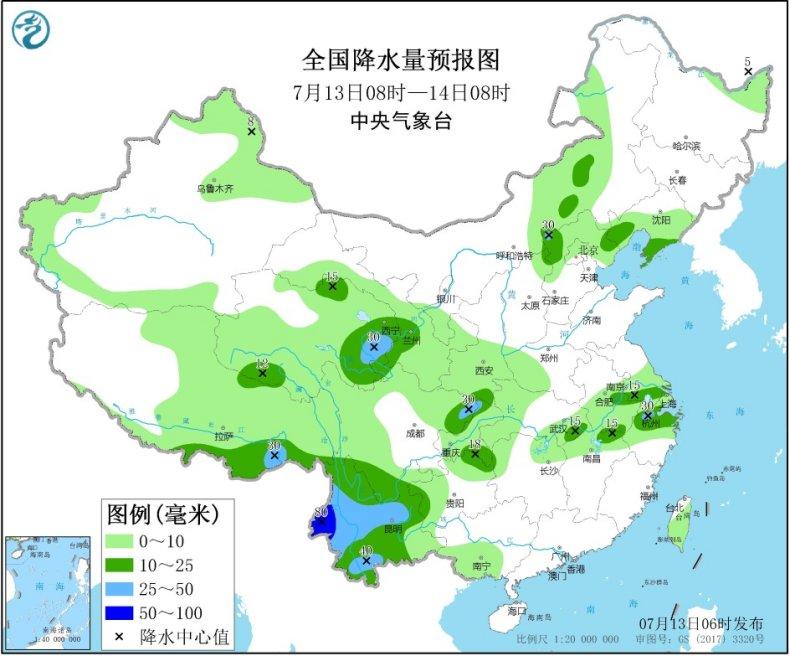 西南地区东部江汉江淮等地有强降雨 华北地区局地有大雨或暴雨