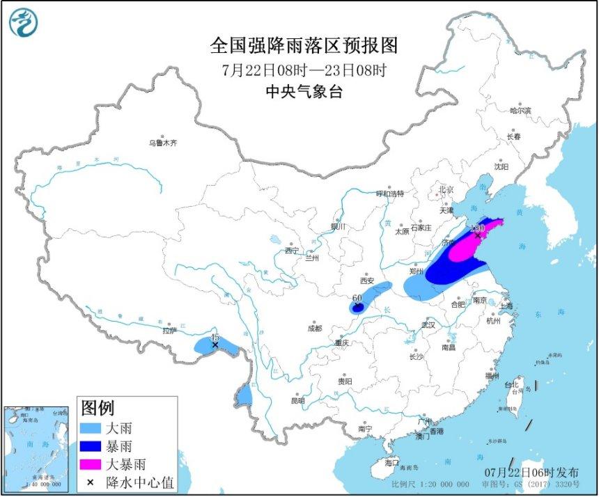 暴雨黄色预警:山东、河南、重庆、四川等地有大到暴雨