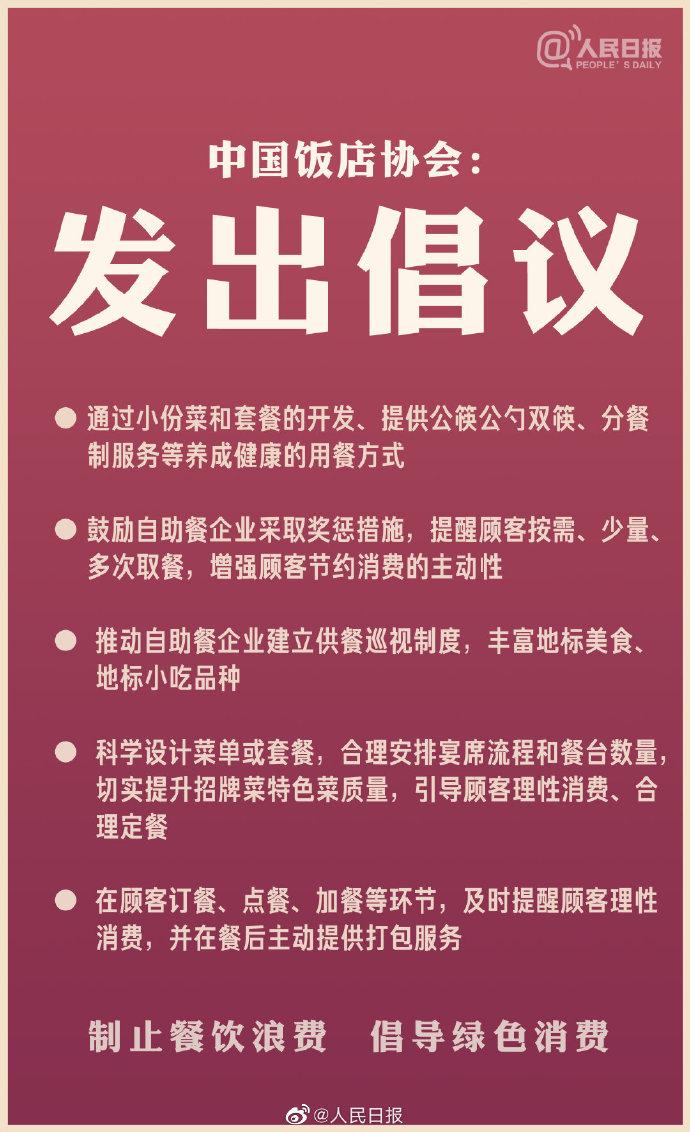 中国饭店协会倡议开发小份菜和套餐