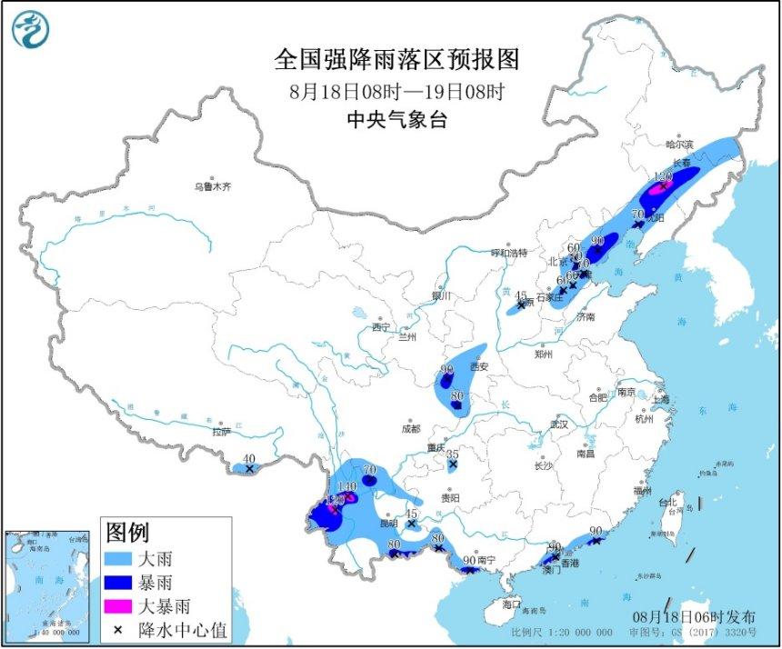 暴雨黄色预警:辽宁、吉林、云南等局地有大暴雨