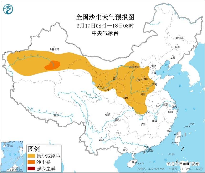 沙尘暴蓝色预警:甘肃、宁夏等地有扬沙或浮尘天气