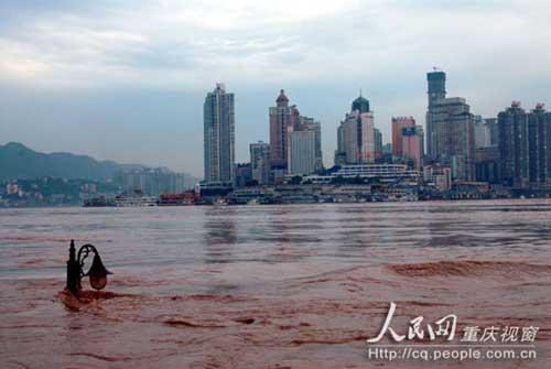 洪峰路经主城 朝天门码头被淹图片