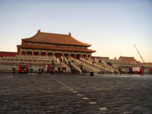 北京故宫举行消防演习